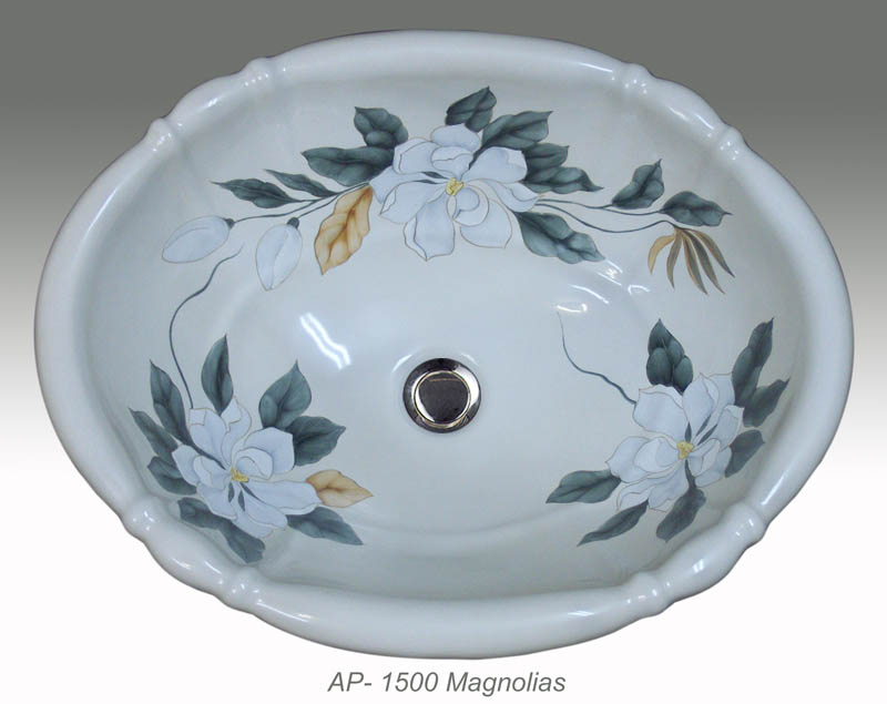 Dawn Ceramic Hand Painted Vessel Sink Round Shape Blue And White Asian