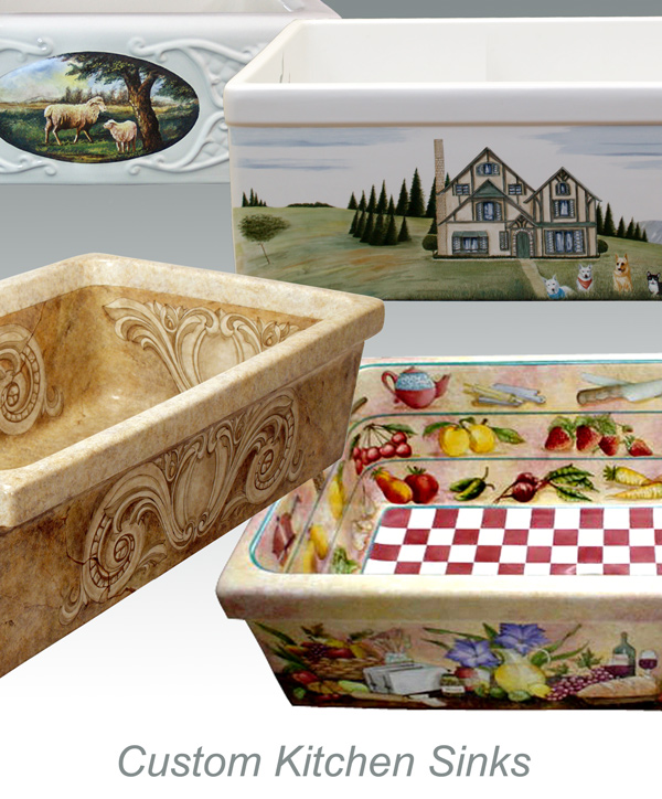 Atlantis Porcelain Art Corp Decorated Kitchen Sinks